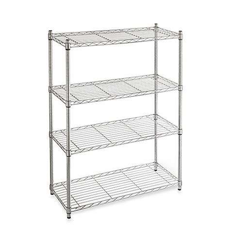 bed bath and beyond shelving commercial grade 4 tier shelving unit in chrome bed bath