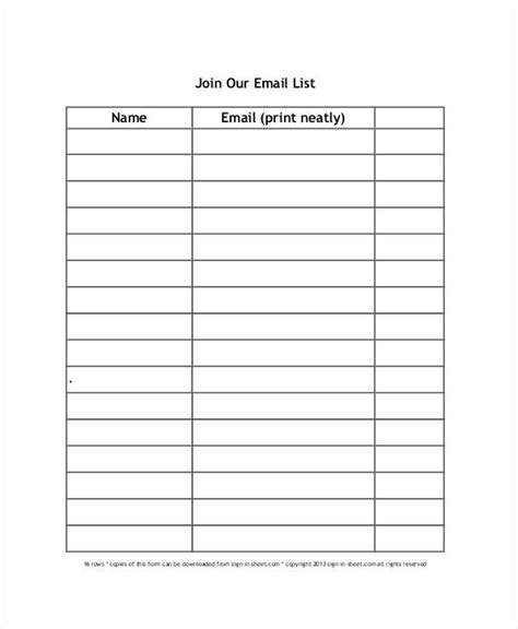card mailing list template email sign up sheet template listmachinepro
