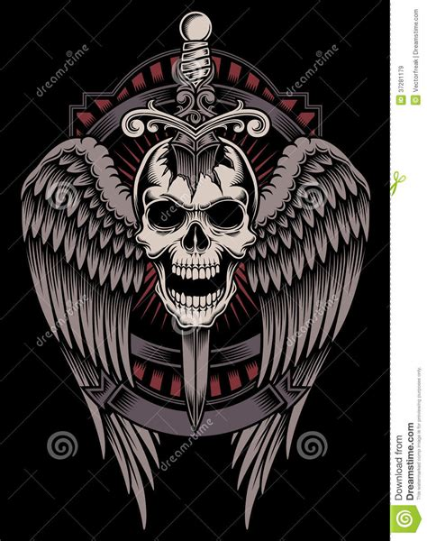 winged skull with sword stuck royalty free stock images