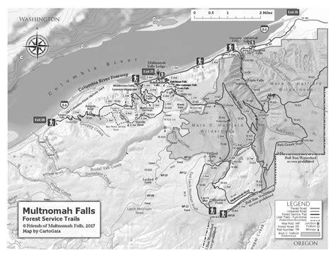 multnomah falls trail map multnomah falls oregon map bnhspine