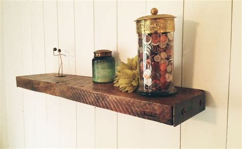 reclaimed wood floating shelf in cottage style interior