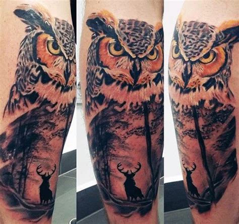 owl tattoo calf night owl tattoos for guys on leg calf owl tatoos