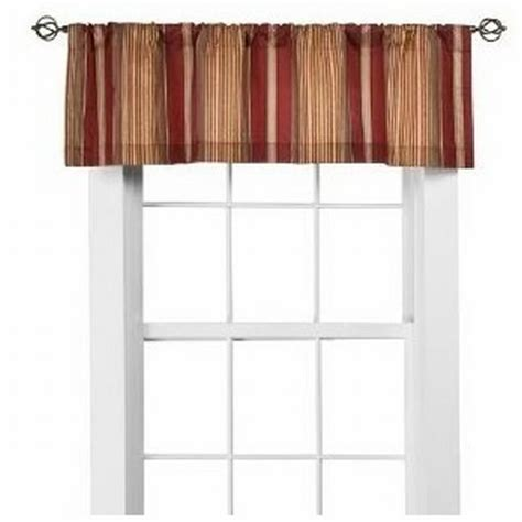 red and gold striped curtains home red and gold chenille stripe window valance curtain