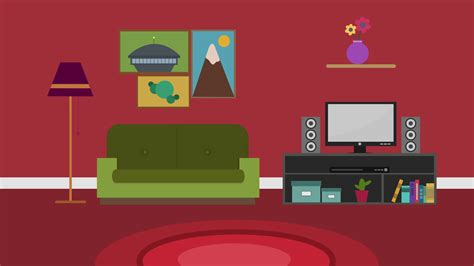 living room cartoon cartoon modern colorful living room animation with space
