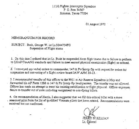 National Service Deferment Letter Sle Bush National Guard Documents