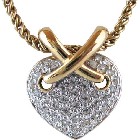 Rhinestone Pendant vintage swarovski clear rhinestone pendant necklace
