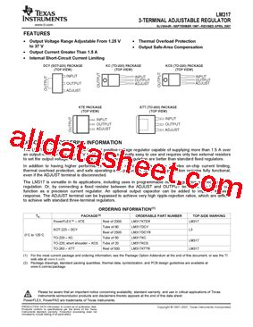 datasheet transistor lm317 lm317 datasheet pdf instruments