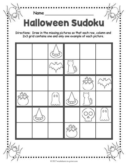 printable halloween sudoku 17 best halloween worksheets images on pinterest