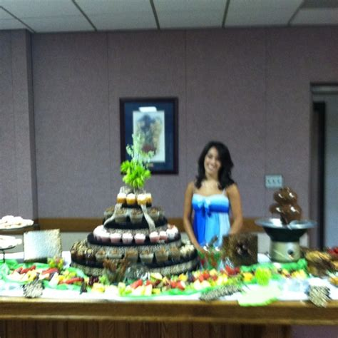 graduation open house ideas a cupcake fruit chocolate fountain display for a