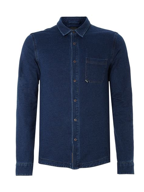 bench long sleeve polo bench long sleeved denim shirt in blue for men indigo lyst