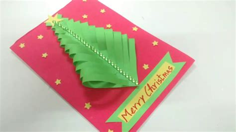 easy paper christmas tree card making idea how to