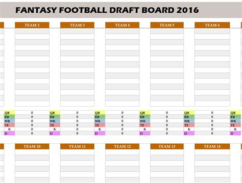 fantasy football 2016 draft board my excel templates