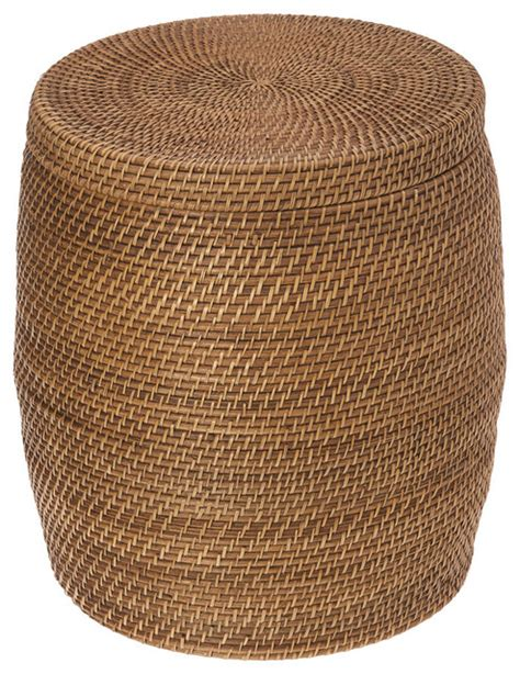round wicker storage ottoman round rattan storage stool honey brown contemporary
