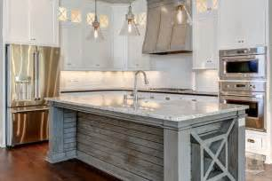 distressed island kitchen mercury glass light pendants transitional kitchen and company