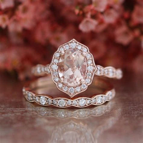bridal set vintage floral oval morganite engagement ring