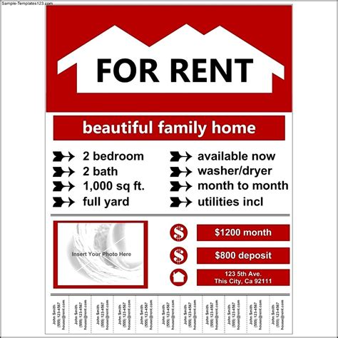 flyer exle for rent template sle templates