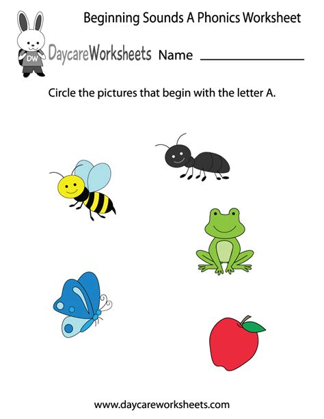 A Phonics Worksheet by Free Beginning Sounds Letter A Phonics Worksheet For Preschool