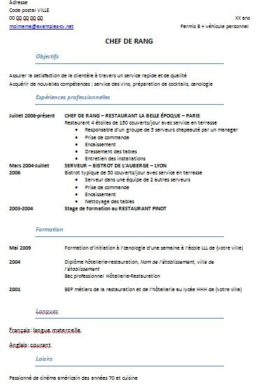 example resume objective curriculum vitae exemple