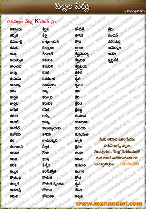 names that start with d baby names starting with k letter manandari official website