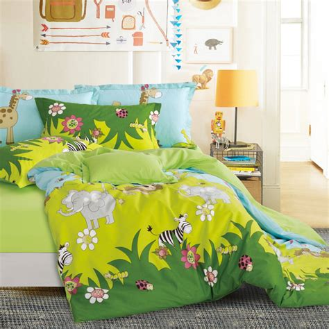 anime comforter animals bed sheets lion elephant zebra duvet cover green