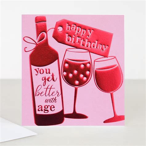 wine birthday cameo birthday card wine bottle caroline gardner