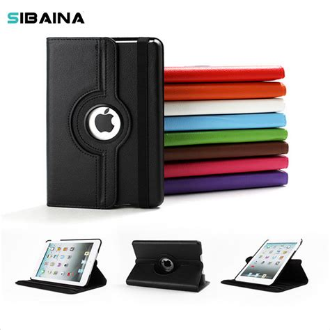 360 rotation pu leather for apple mini 1 2 3 smart cover flip with stand function