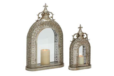 Vintage Industrial Ornate Lattice Candle Lanterns (Set of