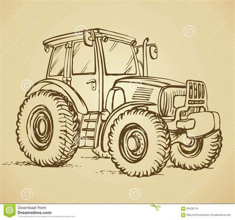 sketch book lumen traktor blumenhintergrund mit gras vektor abbildung bild