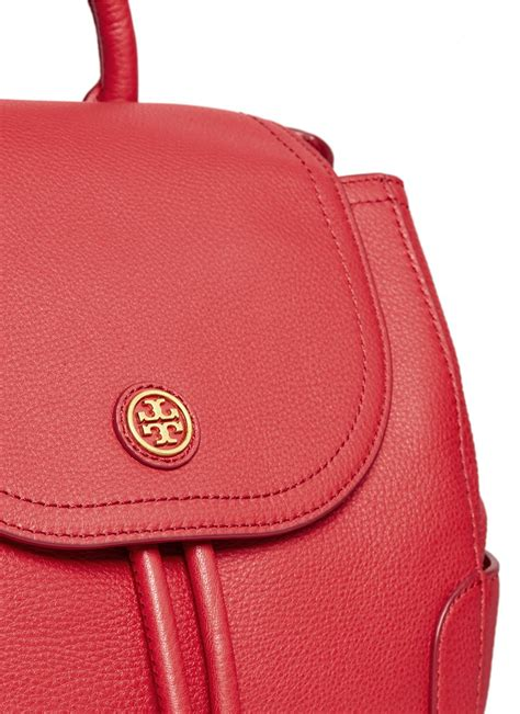 lyst tory burch frances pebbled leather flap backpack  red