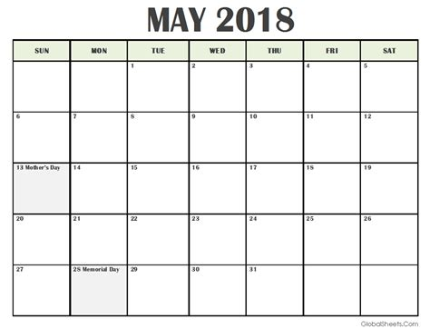 printable calendar for may 2018 may 2018 calendar with holidays printable