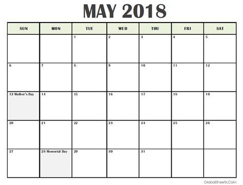 printable calendar may 2018 may 2018 calendar with holidays printable