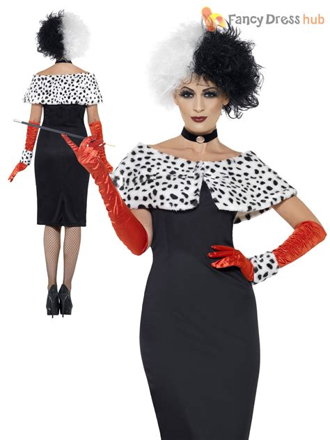 halloween fancy dress costumes scary masks and wigs ladies cruella costume black white wig dalmatian ladies