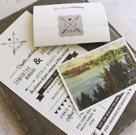 seal and send wedding invitations with photo rustic seal and send wedding invitation wisconsin