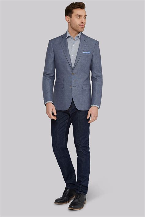 Linen Cotton Jacket moss 1851 tailored fit mid blue linen cotton jacket