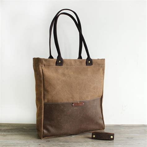 Handcrafted Handbags - handcrafted canvas and leather casual tote bag shopper bag