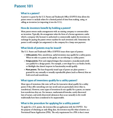 12 Patent Application Templates Free Sle Exle Format Download Free Premium Templates Provisional Patent Template