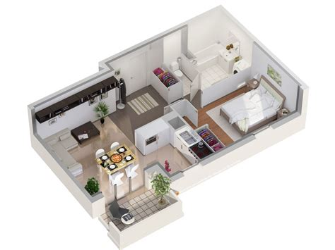 Small One Bedroom Apartment Floor Plans by Plans 3d Et 2d Archives Studio Multim 233 Dia 3d At Home