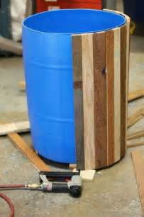 a wood barrel to cover unsightly plastic misc