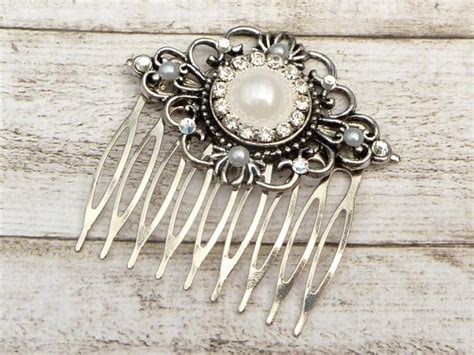 Vintage Bridesmaid Hair Accessories by Bridal Hair Comb Wedding Hair Accessories Silver White