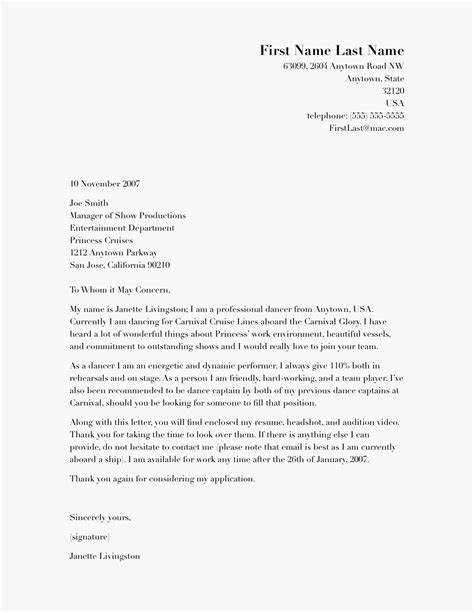 A Cover Letter Template by Cover Letter Exlesbusinessprocess