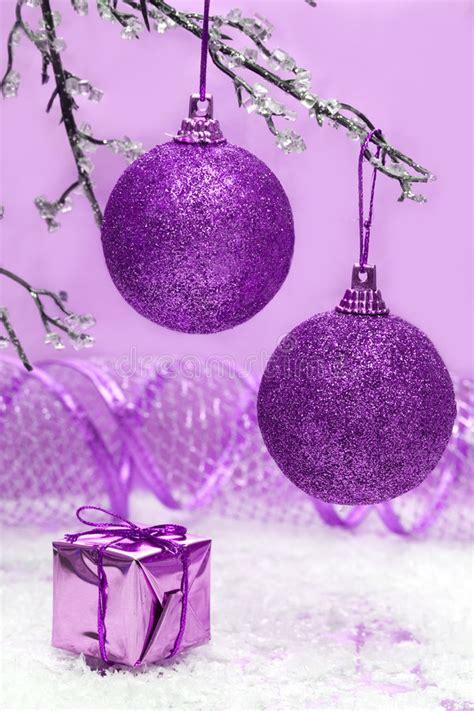 violet christmas balls stock images image