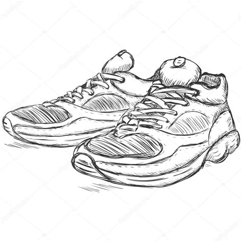 how to draw running shoes vector sketch illustration running shoes stock vector