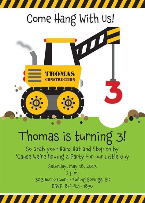Come With Me Birthday Invite by Crane Construction Truck Birthday Invitation Come