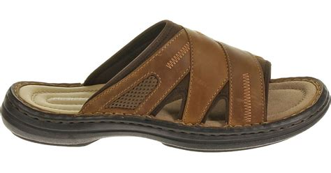 Hush Puppies Rosegold Brown Leather lyst hush puppies relief slide in brown for