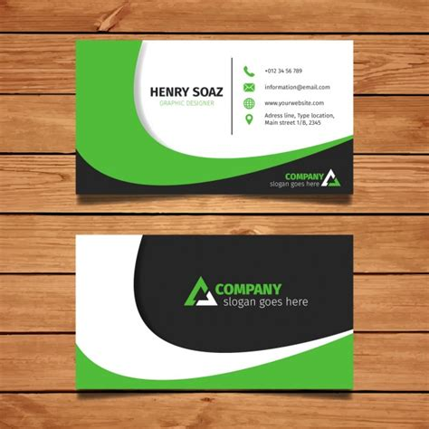 Green Business Card Template Vector by Modern Green Business Card Design Vector Free