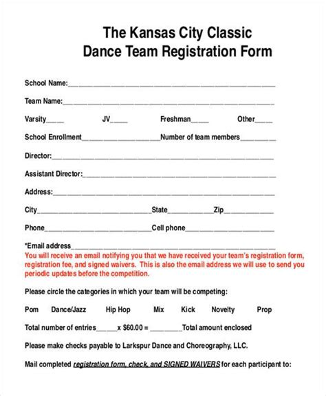 team registration form template 8 team registration form sles free sle exle