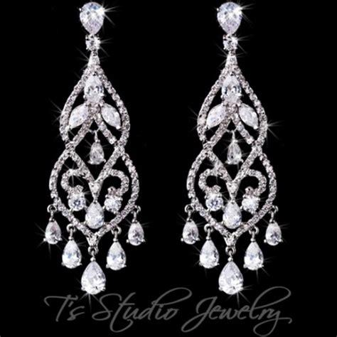 cz chandelier earrings cz pave bridal chandelier earrings pear cubic zirconia