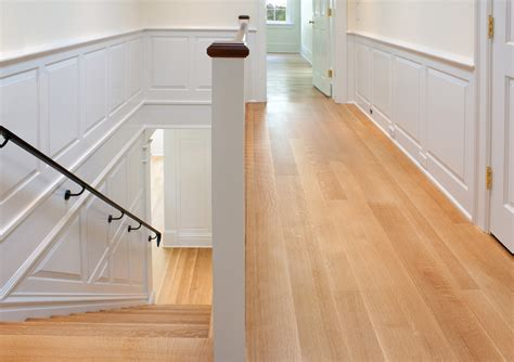Hardwood Floor Decorating Ideas Wide Plank Oak Hardwood Flooring For Narrow Hallway And Stairs With White Wall Interior Color