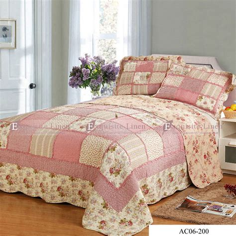 queen size patchwork quilting bedspread pillowcases set