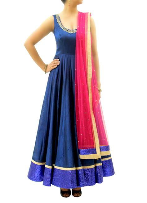 dress design rs silvereene royal blue silk anarkali shop anarkalis at